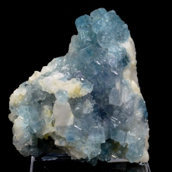 Blue apatite on cleavelandite, Golconda Mine, Minas Gerais, Brazil
