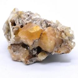 Scheelite on muscovite - Xuebaoding Mts, Pingwu, Sichuan Prov., China