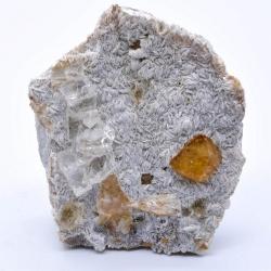 Scheelite et fluorine sur muscovite - Monts Xuebaoding, Pingwu, Province du Sichuan, Chine